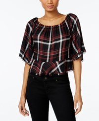Buffalo David Bitton Sealey Off The Shoulder Top Rustic Plaid