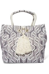 Melissa Odabash Mykonos Printed Cotton Canvas Tote White
