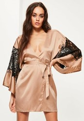 Missguided Nude Silky Kimono Lace Insert Shift Dress Pink
