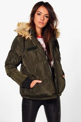 Boohoo Short Faux Fur Collar Quilted Jacket Khaki