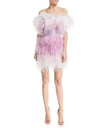 Pamella Roland Off The Shoulder Feather Tulle Cocktail Dress Purple White