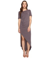 Culture Phit Ines Short Sleeve Dress With Ruched Side Dusty Plum Women's Dress Pink