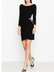 Just Cavalli Gathered Side Long Sleeve Star Detail Dress Black