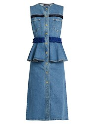House Of Holland Ruffle Trimmed Denim Dress Blue