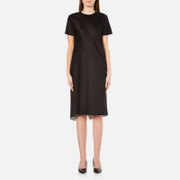 Dkny Women's Short Sleeve Reversible Layered Dress With Back Slit Black Gesso Black White