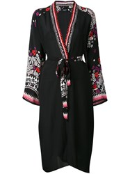 Holland Street Floral Print Robe Women Silk Crepe One Size Black