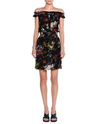 Tomas Maier Cosmic Floral Off Shoulder Dress Multi