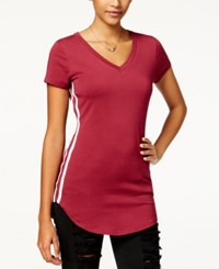 Almost Famous Juniors' Sporty Side Stripe Tunic T Shirt Burgundy White