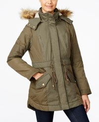 American Rag Juniors' Faux Fur Hooded Mixed Media Parka Only At Macy's Olive