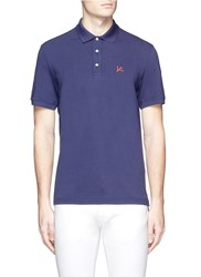 Isaia Coral Logo Embroidered Polo Shirt Blue