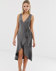 Lavish Alice Wrap Tiered Drape Front Dress In Metallic Knit Silver