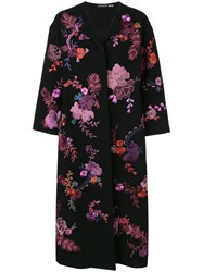 Josie Natori Floral Embroidered Felted Coat Black