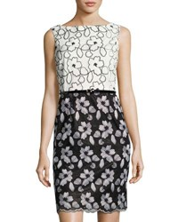 Ellen Tracy Floral Embroidered Belted Sheath Dress Black White