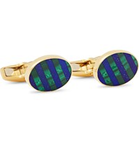 Deakin And Francis 18 Karat White Gold Diamond Enamel Cufflinks Gold