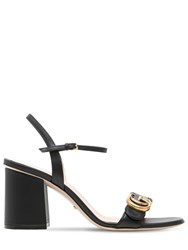 Gucci 75Mm Marmont Leather Sandals Black