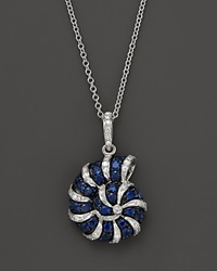 Bloomingdale's Diamond And Sapphire Shell Pendant Necklace In 14K White Gold 18 Multi