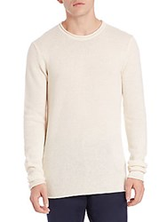 Michael Kors Linen And Cashmere Rolled Crewneck Sweater Ecru