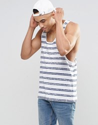 Asos Striped Vest With Relaxed Fit White Navy