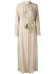 P.A.R.O.S.H. Maxi Shirt Dress Women Silk L Nude Neutrals