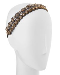 Deepa Gurnani Mixed Circle Double Split Headband Gunmetal
