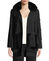 Kobi Halperin Chrissie Sweater Jacket With Fur Collar Black