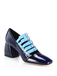Miu Miu Strappy Patent Leather Mary Jane Pumps Royal Blue