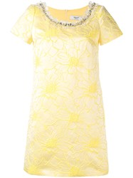 Blugirl Embellished Jacquard Dress Women Cotton Acrylic Acetate 42 Yellow Orange