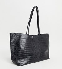 Glamorous Exclusive Oversized Tote Bag In Black Croc With Removable Inner Pouch