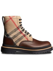 Burberry Shearling Lined Leather And Check Boots Brown