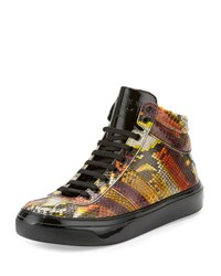Jimmy Choo Belgravia Men's Python And Patent Leather High Top Sneaker Multicolor