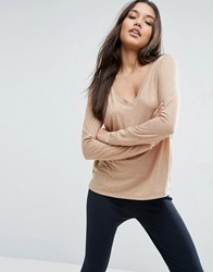 Asos V Neck Long Sleeve T Shirt In Linen Mix Fabric Coffee Brown