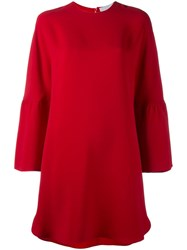 Valentino Round Neck Mini Dress Red