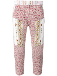 N 21 No21 Floral Print Cropped Trousers Pink Purple