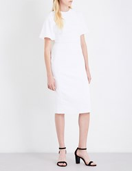 Antonio Berardi Cape Overlay Crepe Midi Dress White