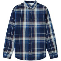 Officine Generale Indigo Check Shirt Blue