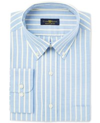 Club Room Men's Estate Classic Regular Fit Wrinkle Resistant Yellow Blue Oxford Stripe Dress Shirt Only At Macy's