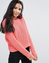 Noisy May Grid Knit Jumper Salmon Rose Pink