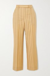 Acne Studios Patrina Cropped Pinstriped Grain De Poudre Wool Flared Pants Yellow