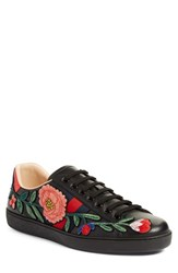 Gucci Men's 'New Ace Embroidered' Sneaker With Genuine Snakeskin Detail Black Leather