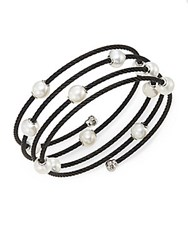 Alor Noir 1.6Mm White Round Freshwater Pearl 18K White Gold And Black Stainless Steel Bracelet