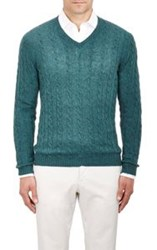 Malo Cable V Neck Sweater Green