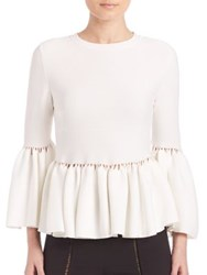 Jonathan Simkhai Knit Bell Sleeve Peplum Top Ivory Blush Navy Black