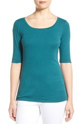Women's Caslon Ballet Neck Cotton And Modal Knit Elbow Sleeve Tee Teal Pacific