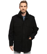 Marc New York Litchfield Pressed Wool Four Pocket Field Jacket With Inset Knit Bib Black Men's Coat