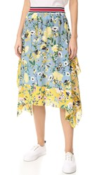 Hilfiger Collection Patchwork Floral Midi Skirt Golden Rod Multi
