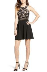 Speechless Lace Fit And Flare Dress Black Nude