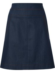 Akris Punto A Line Denim Skirt Blue