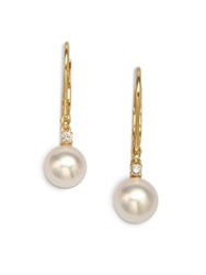 Mikimoto 7Mm White Cultured Akoya Pearl Diamond And 18K Yellow Gold Leverback Earrings