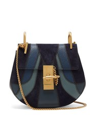 Chloe Drew Mini Leather And Suede Cross Body Bag Blue