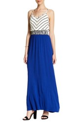 Vanity Room Striped Bodice Maxi Dress Petite And Plus Size Blue